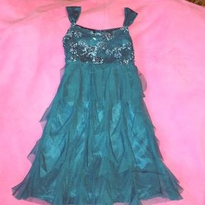 Girls Teal Biscotti tea red chiffon dress size 12